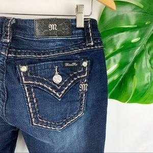 Miss Me Dark Wash Border Stitch Bootcut Jeans 30